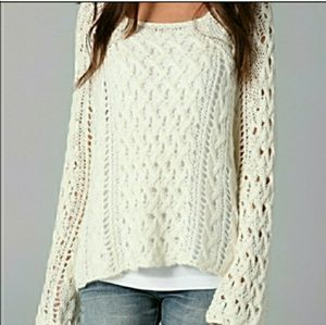 Free People ivory open knit bellsleeve sweater